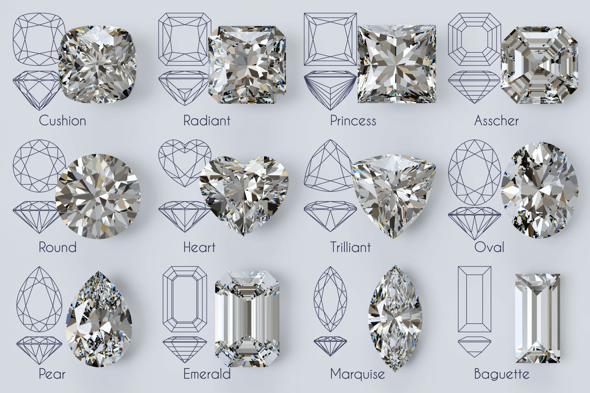 Twelve popular diamond shapes