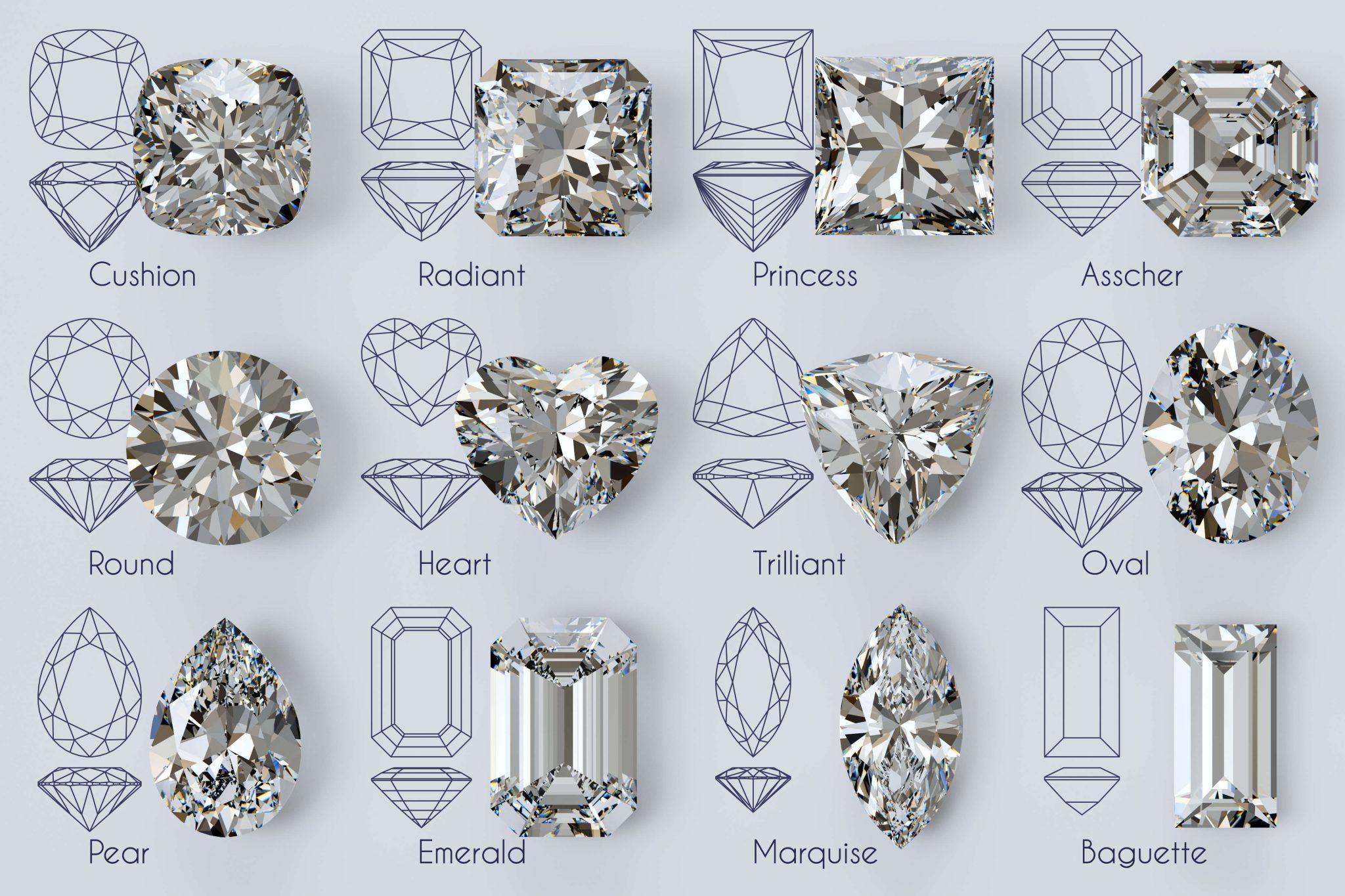 Twelve popular diamond shapes