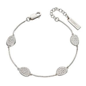 Organic Shape Full Pave CZ Station Bracelet