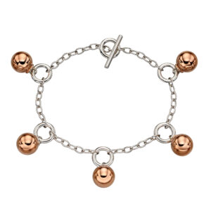 T-Bar Rose Gold Plated Sphere Bracelet
