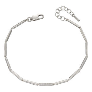 Long Stick Pave Tennis Bracelet With CZ