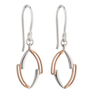 Asymmetric Marquise Earrings With Rose Gold Plating