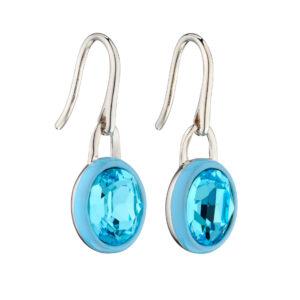 Aqua Crystal Earrings With Blue Enamel Border