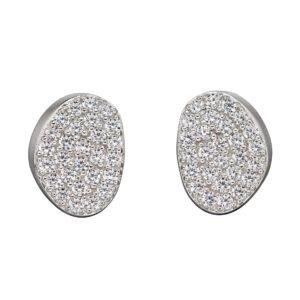 Organic Shape Full Pave CZ Stud Earrings