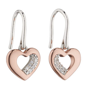 Rose Gold Plated Organic Heart With CZ Earrings