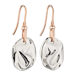 Crinkle Component Silver Earrings With Rose Gold Plating
