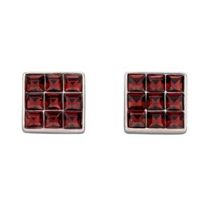 Princess Cut Burgundy Crystal Stud Earrings