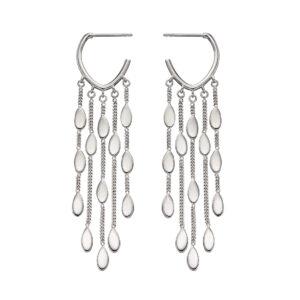 Drop Oval Shaped Waterfall Earrings