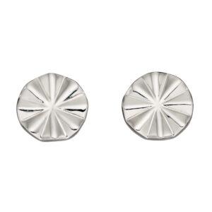 Diamond Cut Bevelled Stud Earrings