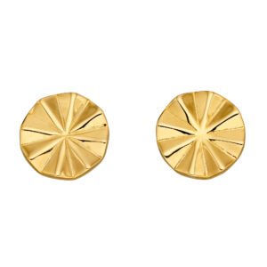 Diamond Cut Bevelled Yellow Gold Plated Stud Earrings