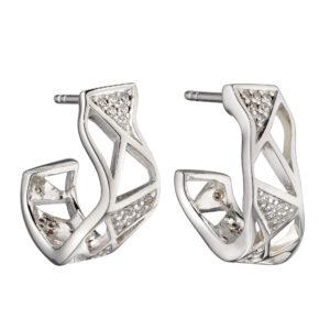 Organic Open Cage CZ Hoop Earrings