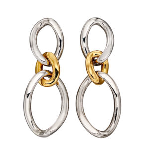 Large Curb Link Drop Earrings With Yellow Gold