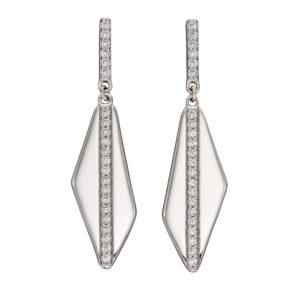 Asymmetric Channel Set CZ Earrings