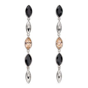 Silver Cascade Earrings With Montana And Peach Crystals