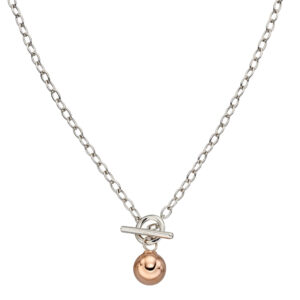 T-Bar Rose Gold Plated Sphere Necklace