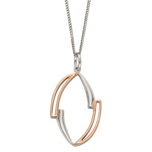 Asymmetric Marquise Pendant With Rose Gold Plating