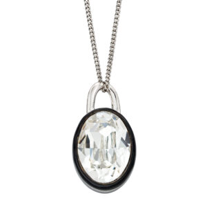 Clear Crystal Pendant With Black Enamel Border