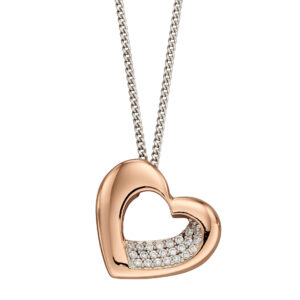 Rose Gold Plated Organic Heart With CZ Pendant