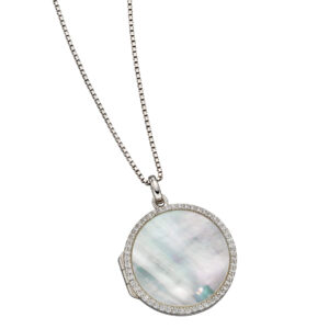 Mother Of Pearl Pave Locket With CZ