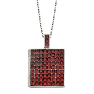 Princess Cut Burgundy Crystal Square Locket