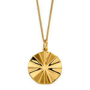 Diamond Cut Bevelled Yellow Gold Plated Pendant