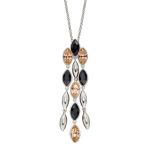 Silver Cascade Pendant With Montana And Peach Crystals