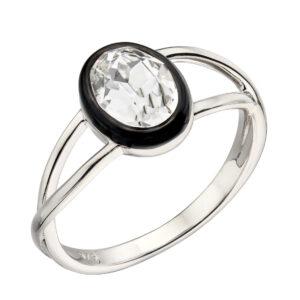 Clear Crystal Ring With Black Enamel Border
