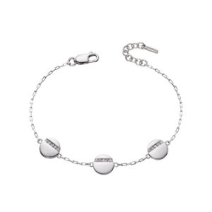 Disc Station Bracelet With Tiny CZ Baguettes