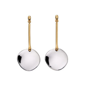 Yellow Gold And Silver Mix Disc Drop Earrings