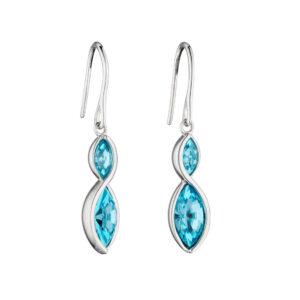 Aqua Navette Twist Earrings