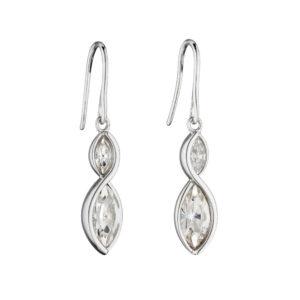 Crystal Navette Twist Earrings