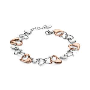 Mix Plate Heart Link Bracelet (17-20cm) By Fiorelli Silver