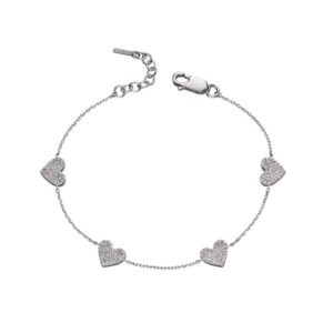 Heart With CZ Pave Station Bracelet