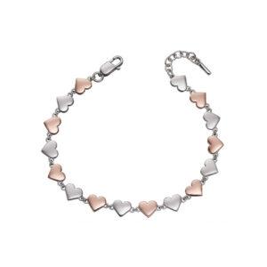 Mixed Metal Heart Tennis Bracelet