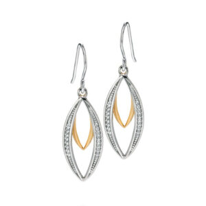 Fiorelli Silver Silver And Gold Double Marquise Dangly Earrings