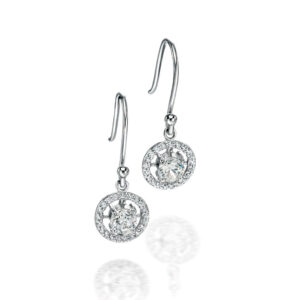 Fiorelli Silver Silver Round CZ Earrings With Pave Surround