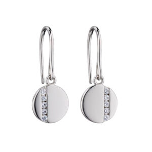 Disc Drop Earrings With Tiny CZ Baguettes