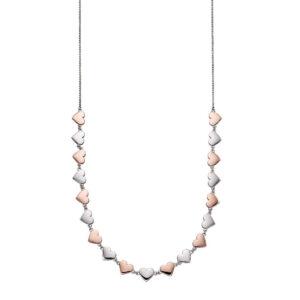 Mixed Metal Heart Collar Necklace