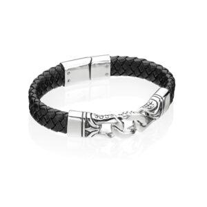 Stainless Steel Black Enamel/Leather 23cm Bracelet