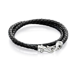 S/STL BLK Woven Leather Wrp BR