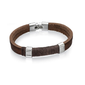 Stainless Steel Brown Leather And Wrapped Cord Bracelet 22cm