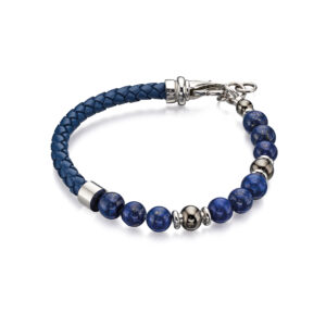 Blue Lapis Bead And Blue Leather Bracelet