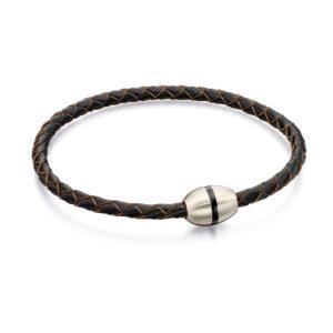 Skinny Brown Leather Plaited Ss Bracelet