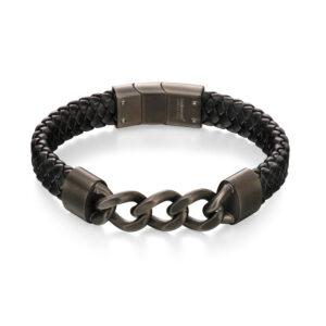 Gunmetal Curb Chain And Plait Bracelet (19cm)