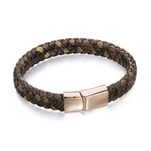 Stainless Steel Wide Plaited Brown Leather Rose Gold Bracelet