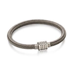 Grey Steel Woven Bracelet