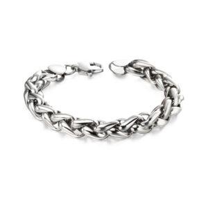 Steel Twisted Black Link Bracelet
