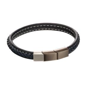 Plait Mixed Brushed Finish Navy Leather Bracelet