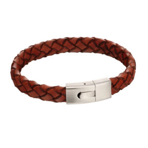 Elastic Clasp Orange Leather Bracelet