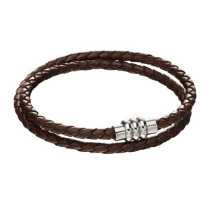 Section Tube Clasp Brown Knot Leather Bracelet